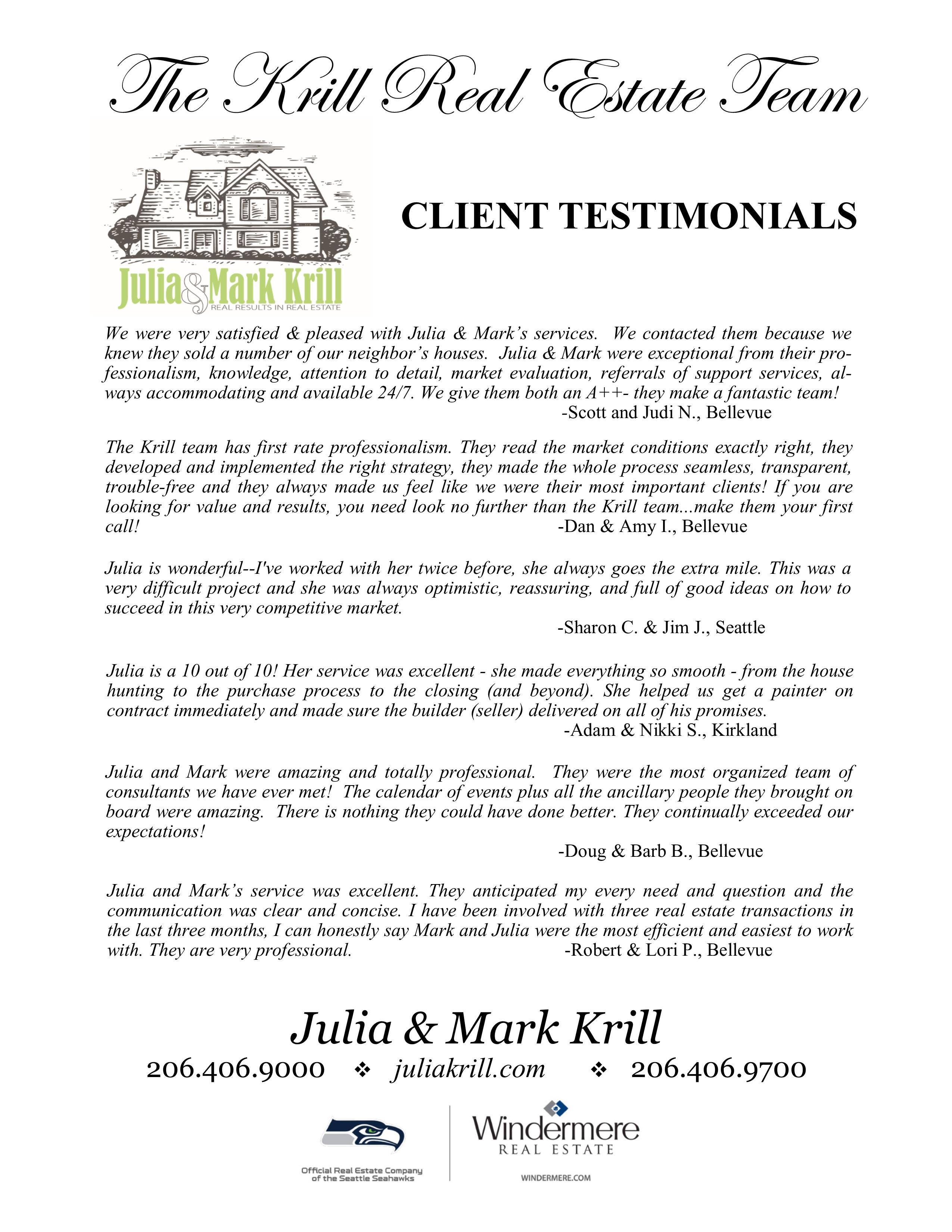 Krill Team Client Testimonials 10.2016